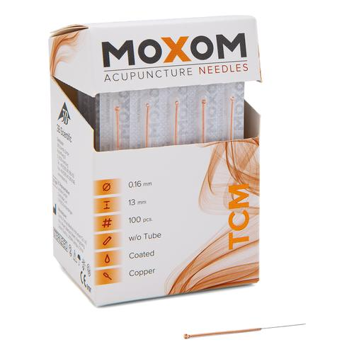 Acupuncture needles with copper handle - MOXOM TCM 100 pcs. (silicone coated ) 0,16 x 13 mm, 1022094, Acupuncture Needles MOXOM