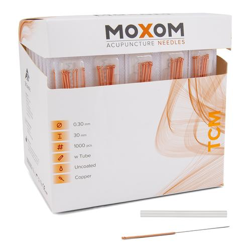 Acupuncture needles MOXOM TCM 1000 pcs. (Uncoated) 0,30 x 30 mm, 1022107, Acupuncture Needles MOXOM