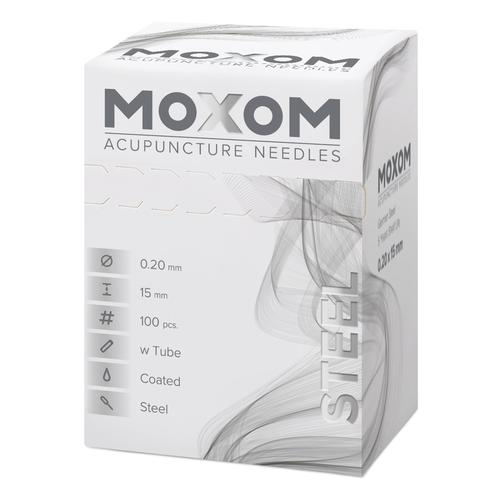 Acupuncture needles with steel handle, silicone coated – MOXOM Steel: 100 needles each 0.20x15 mm (with tube), 1022108, Acupuncture Needles MOXOM