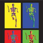 MEDart™ Poster Skeleton, 4 motives, background black,MAPA10Suu